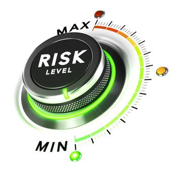 3D-Darstellung eines Risiko Ebene Knopf über weißem Hintergrund. Konzept der Anlagestrategie